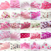 "25x1Yard Assorted Satin Grosgrain Ribbon Lot 3/8""--1.5"" Pink Theme Craft Bow-B"