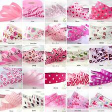 "25x1Yard Assorted Satin Grosgrain Ribbon Lot 3/8""--1.5"" Pink Theme Craft Bow-B"