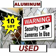 """10 USED Warning Security Cameras In Use 10"""" x 14"""" Aluminum METAL Sign Video Spy"""