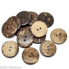 "25PCs Brown Coconut Shell 2 Holes Sewing Buttons Scrapbooking 25mm(1"")Dia."