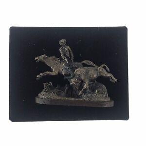 Olszewski Goebel Miniature Foundry Bronze American Frontier Scout And Buffalo