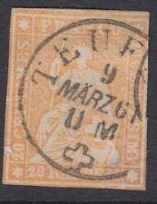 Suisse: 1857 20r orange sitting helvetia imperf sg 50 utilisé