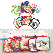 1set/2pcs  Christmas microwave oven heat insulated pad Christmas glove mat NB