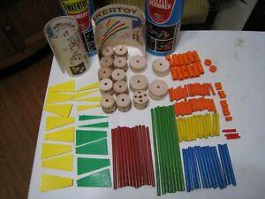 Vintage Tinker Toys LITTLE DESIGNER & PRIMARY Sets 145 pcs. Mixed together