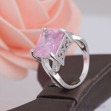 Womens Fashion Pink 18K White Gold Plated Cubic Zirconia Engagement Rings Gift