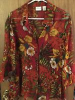 CHICO'S Size 3 16 18 XL Blouse Shirt Top Button Down 3/4 Flutter Sleeve Silk