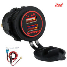 Car Boat Dual Usb Charger Socket, Power Outlet Quick Charge 3.0 & 5V/2.4A Ports(Fits: Ford Aerostar)