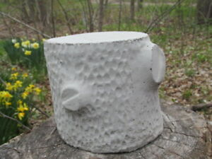 "5"" Tall Cement Tree Trunk Stump Pedestal Garden Concrete Statue Plant Stand"