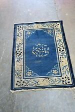 Antique Old Art Deco Chinese Rug  Mat Hand Knotted Wool 2'0 x 2'11  Pekin