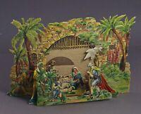Krippe aus geprägter Pappe, Faltkrippe, Weihnachtskrippe, ~ 1920  (# 12160)