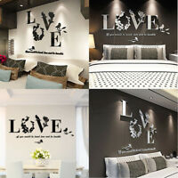 Stylish Removable 3D Leaf LOVE Wall Sticker Art Decor Decals Bedroom Ornament UK