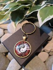 Handmade Tribal Yin Yang Cabochon Glass & Bronze Keyring/bag Charm. Gift Boxed.