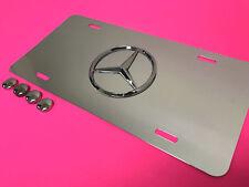 3D MERCEDES LOGO Emblem Aluminum Mirrored Chrome FRONT License PLATE  2014-2018