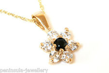 9ct Gold Sapphire and CZ Cluster Pendant and chain Made in UK Gift Boxed Xmas