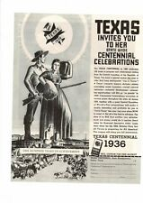 VINTAGE 1936 ORIGINAL TEXAS CENTENNIAL WESTERN 100 YEAR CELEBRATION AD PRINT