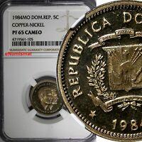 DOMINICAN REPUBLIC PROOF 1984 MO 5 Centavos NGC PF65  CAMEO KM# 59