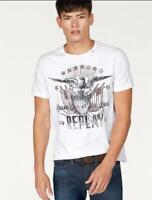 REPLAY Maglietta T-Shirt Girocollo Bianca in Cotone con Stampa e Logo -S- €59