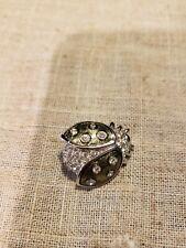 """genuine Swarovski crystal lady bug brooch green enamel silvertone 1"""" FREE SHIP!"""