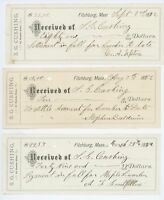Lot of 3! SG Cushing Receipts FITCHBURG MA Massachusetts Antique 1882 Documents