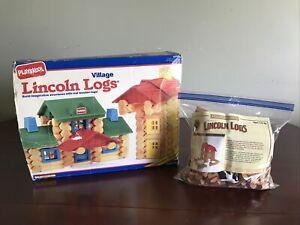 2 Sets Lincoln Logs Playskool Village & Hasbro Frontier Farm Complete 200+ Pcs