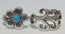 Carolyn Pollack Relios Sterling Silver 925 Double Finger Turquoise Flower Ring