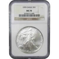 1995 $1 American Eagle 1 oz .999 Silver Dollar Coin MS 70 NGC
