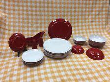 Vintage Retro Melmac LOT of 34 Royalon Camping Cottage MCM Modern RED/WHITE
