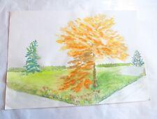 ROSE MARIE DE WOUTERS – aquarelle – arbre jaune et deux sapins -  92   LONGUEUR