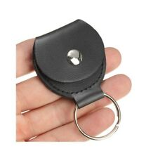 3pcs Leather Keychain Guitar Pick Holder plectrum bag black case