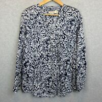 Faded Glory Womens Sz Small 4-5 Blouse Tunic Top Shirt Blue White Roll Tab Slvs