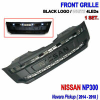 FOR NISSAN NAVARA NP300 2014-2018 17 17+ 16+ FRONT GRILLE BLACK LOGO WHITE LEDs