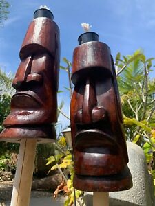 New Moai Easter Island Tiki Torch set of 2 by Smokin' Tikis Hawaii fx