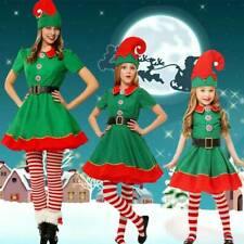 Womens Kids Elf Christmas Fancy Dress Santa Helper Cosplay Costume XMAS Outfits