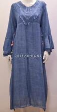 PLUS SIZE BOHO HIPPIE CROCHET LACE TRIM BELL SLEEVE TUNIC DRESS BLUE 14 16