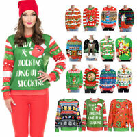 Funny UGLY Xmas Sweatshirt Christmas Party Sweater Womens Mens Pullover Tops