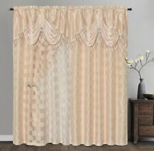 CIRCLE CYCLE. Clipped voile/ voile jacquard window curta 2pcs set.COFFEE