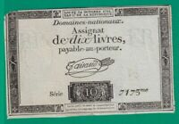 ASSIGNAT  FRENCH  REVOLUTION  10 LIVRES   1793 .G.  - 7173 - 3 - CURRENCY BILL