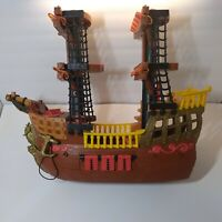 2006 Mattel Fisher PrIce Imaginext Pirate Ship Boat RETIRED Brown Red Incomplete