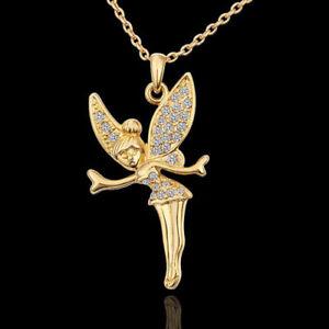 ASAMO Damen Halskette mit Fee Anhänger und Zirkonia vergoldet Kette HG1587
