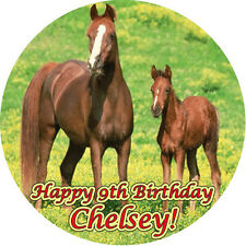 HORSES Round Edible Birthday CAKE Image Icing Topper Party Decoration