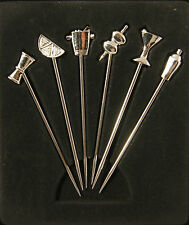 """6 x Cocktail Picks for MARTINI GLASS  glasses olive pick stainless steel NEW 4"""""""