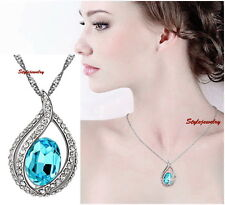 Aquamarine Blue Made with Swarovski Crystal Teardrop Wedding Necklace N71