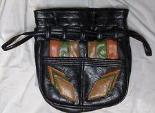 Vintage Leather Patchwork Cinch Sak Boho Bag Hippie Purse