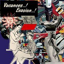 """Collage sur carton à encadrer 19x19 cm """"VACANCES"""" PIN UP"""