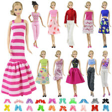 5 Set Barbie Clothes Mix Shirt & Pants 5 Pairs Shoes Accessories for Barbie Doll