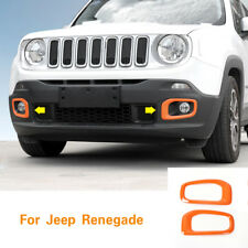 2Pcs ABS Orange Front Fog Light Lamp Cover Trim Frame For Jeep Renegade 15 - 18