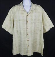 Kahala Hawaiian Shirt Mens XL Short Sleeve Button Front Floral Beige Aloha Camp