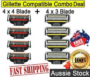 Gillette Mach 3 Compatible Razor Blades 8x Combo Pack 3 and 4 Blade Shave