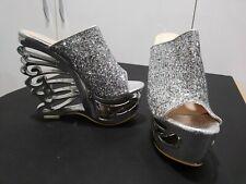 SILVER Rhinestone High Heel Platform Shoes CHROME BUTTERFLY SIZE 4 US 34 Dancer