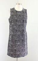 Banana Republic Black White Geometric Tweed Fringe Shift Dress Size 6 Sleeveless